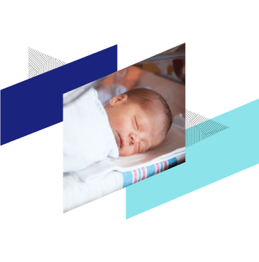 Image of an infant with Fabric brand elements